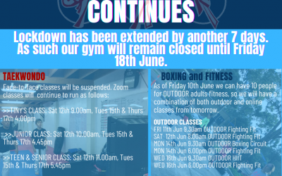 Extended Restrictions for Gyms from 11 June 2021